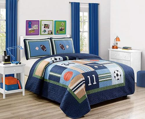 Full Elegant Home Multicolor Sports Soccer Basketball Baseball Football Design 3 Piece Coverlet Bedspread Quilt For Kids Teens Boys Sports Navy Full Size Kogan Com