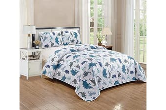 (Dinosaur Kingdom, Twin) - Better Home Style White Blue and Grey Dinosaur Dinosaurs Jurassic Park World Kids/Boys/Toddler 2 Piece Coverlet Bedspread Quilt Set with Pillowcases # Dino Kingdom (Twin)