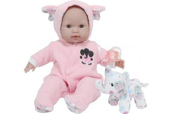 (Pink Elephant Theme) - JC Toys 38cm Berenguer Boutique Pink Soft Body Baby Doll Open/Close Eyes with Play Elephant Accessory- Perfect for Children 2+