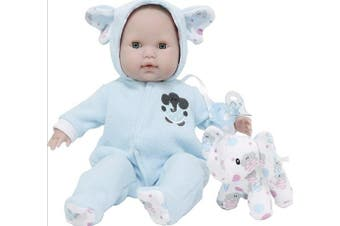 (Blue Elephant Theme) - JC Toys 38cm Berenguer Boutique Blue Soft Body Baby Doll Open/Close Eyes with Play Elephant Accessory - Perfect for Children 2+