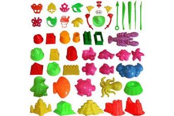 (46Pcs Sand Mould) - MUKOOL Sand Moulding Toys Activity Sand Art Kits 46pcs Deluxe Kinetic Mould for Play 2,3,20kg Blue Moulding Sands