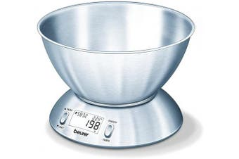 BEURER Digital Stainless Steel Kitchen Scale with Bowl, Stainless Steel