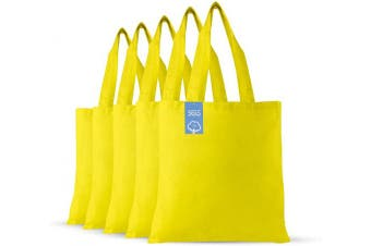 (Yellow) - Simply Green Solutions Blank 100% Cotton Fabric Reusable Cloth Bags - Set of 5 - Tote Bags for School, Tote Bags for Grocery Shopping, Fun Promotional Items or Eco-Friendly Reusable Bags
