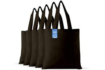 (Army Green) - Simply Green Solutions Blank 100% Cotton Fabric Reusable Cloth Bags - Set of 5 - Tote Bags for School, Tote Bags for Grocery Shopping, Fun Promotional Items or Eco-Friendly Reusable Bags