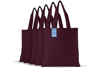 (Maroon) - Simply Green Solutions Blank 100% Cotton Fabric Reusable Cloth Bags - Set of 5 - Tote Bags for School, Tote Bags for Grocery Shopping, Fun Promotional Items or Eco-Friendly Reusable Bags