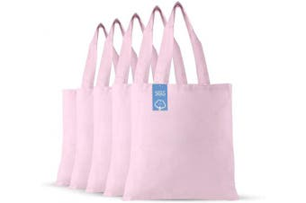 (Light Pink) - Simply Green Solutions Blank 100% Cotton Fabric Reusable Cloth Bags - Set of 5 - Tote Bags for School, Tote Bags for Grocery Shopping, Fun Promotional Items or Eco-Friendly Reusable Bags