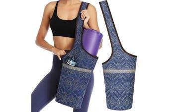 (Blue Block Pattern) - Soogus Yoga Mat Bag, Yoga Carrying Bag for Mat and Blocks Patterned Canvas Large Sling Yoga Tote Bag Pilates Bag with Zipper Pocket, Fits Most Size Mats