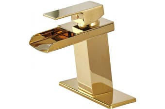 (Gold) - BWE Gold Waterfall Bathroom Sink Faucet Single Handle One Hole Deck Mount Lavatory,Gold Finish