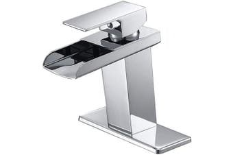 (Chrome 6009) - Bathlavish Waterfall Bathroom Sink Faucet Single Handle One Hole Commercial Deck Mount Lavatory Chrome Lead-Free
