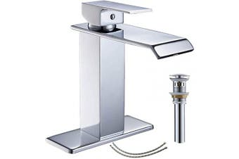 (Chrome 6004-1) - Bathlavish Bathroom Faucet Chrome Single Hole One Handle Vanity Waterfall Sink with Pop Up Drain with Overflow Mixer Tap Supply Line Lead-Free