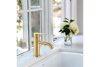 (Gold) - AMAZING FORCE Brushed Gold Bathroom Faucet Sink Drain Not Included Single Handle Bathroom Sink Faucet Single Hole Bathroom Faucet For Sink High Profile Spouts Bathroom Faucet