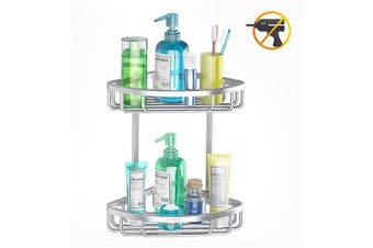 ADOVEL Bathroom Shelf, AdhesiveCorner Shower Caddy, Aluminium Rustproof, No Drilling - 2 Tiers