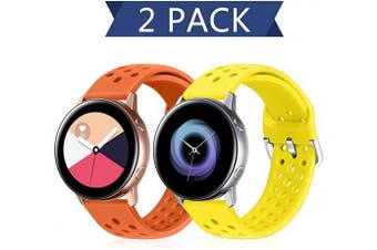 (20mm, Orange+Flash) - Runostrich 20mm Quick Release Silicone Watch Strap, Rubber Replacement Watch Bands Compatible with Galaxy Watch 42mm Bands/Active2 44mm 40mm, Pebble, Ticwatch, Men Women (20mm, Orange+Flash)