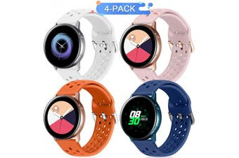 (20mm, Dark Blue+Pink Sand+Orange+White) - Runostrich 20mm Quick Release Silicone Watch Strap, Replacement Watch Bands Compatible with Galaxy Watch 42mm Bands/Active2 44mm 40mm, Ticwatch(20mm, Dark Blue+Pink Sand+Orange+White)