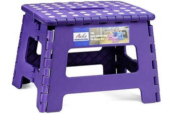 (Purple) - ACSTEP Acko Folding Step Stool Portable Collapsible Plastic Step Stool,23cm Foldable Step Stool for Kids,Non Slip Folding Stools for Kitchen Bathroom Bedroom (Purple)