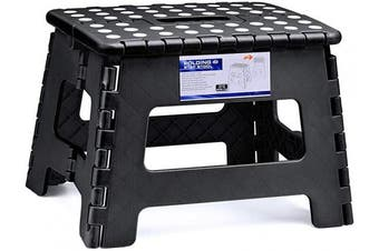 (Black) - ACSTEP Acko Folding Step Stool for Kids 23cm Tall 28cm Wide Foldable Step Stool Black