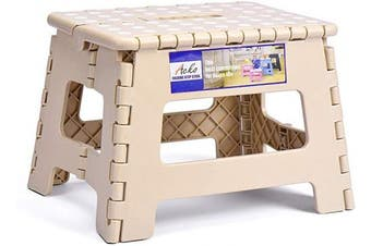 (Khaki) - ACSTEP ACKO Folding Step Stool Lightweight Plastic Step Stool,23cm Foldable Step Stool for Kids,Non Slip Folding Stools for Kitchen Bathroom Bedroom Khaki