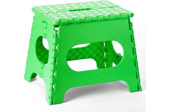(Green) - ACSTEP Acko Folding Step Stool-11 Height Lightweight Plastic Stepping Stool. Foldable Step Stool for Kids. Hold up to 140kg Non Slip Collapsible Stool Green