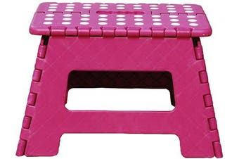 (Plum) - db Living Plastic Folding Step Stool with Handle 30cm Wide of Kids or Adults Stepping Stool for Kithchen,Bathroom,Bedroom (Plum)