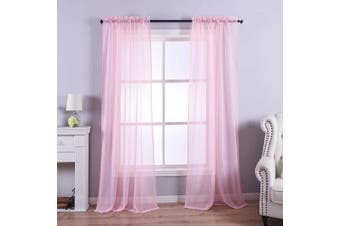 (130cm W x 240cm L, Pink) - Anjee Pink Sheer Curtains, 240cm Long Voile Curtain,Semi Sheer Curtain for Living Room, Dining Room, Bedroom,2 pcs