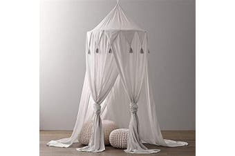 (Grey) - Borje Bed Canopy Mosquito Net Round Dome Reading Nook Kids Play Tent Room Decoration for Baby Toddler