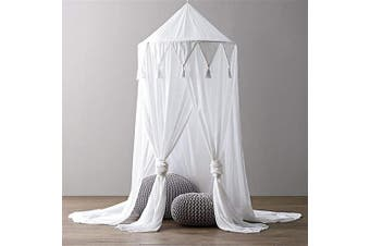 (White) - Borje Bed Canopy Mosquito Net Round Dome Reading Nook Kids Play Tent Room Decoration for Baby Toddler
