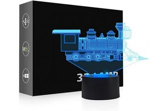 (Train) - AZIMOM LED 3D Illusion Lamp Train 7 Colours Changing Night Light for Kids with Smart Touch Sensor Switch Bedside Optical Lamps Bedroom Party Home Decoration for Kids Boys Girls Women Birthday Gift