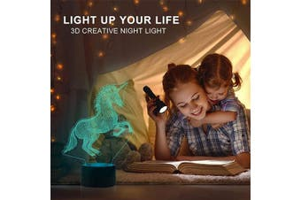 (Unicorn) - AZIMOM 3D Unicorn Illusion Lamp 7 Colours Changing Night Light for Kids with Smart Touch Sensor Switch Bedside LED Optical Lamps Bedroom Party Home Decoration for Kids Boys Girls Women Birthday Gift