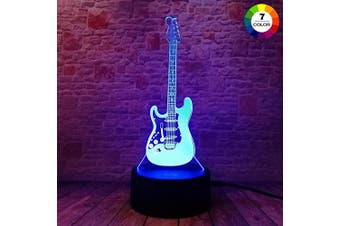 (Electguitar) - AZIMOM 3D Illusion Night Light, 7 Colours Changing Nightlight for Kids with Smart Touch Optical Illusion Bedside Lamps Bedroom Home Decoration for Kids Boys & Girls Women Birthday Gift(Electric guitar)