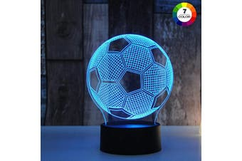 (Soccer) - AZIMOM LED 3D Illusion Lamp Soccer Ball Sleep Night Light 7Colors Change Touch Table Desk Optical Illusion Lamps USB Charger for Kids Gift Bedside Bedroom Home Decoration