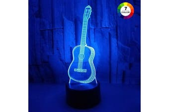 (Guitar) - AZIMOM 3D Illusion Night Light, 7 Colours Changing Nightlight for Kids with Smart Touch Optical Illusion Bedside Lamps Bedroom Home Decoration for Kids Boys & Girls Women Birthday Gifts (Guitar)
