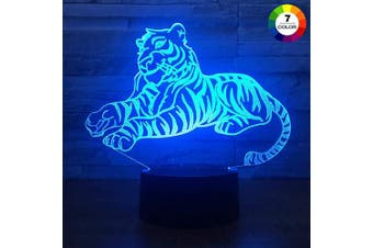 (Tiger) - AZIMOM 3D Illusion Night Light, 7 Colours Changing Nightlight for Kids with Smart Touch Optical Illusion Bedside Lamps Bedroom Home Decoration for Kids Boys & Girls Women Birthday Gifts (Tiger)