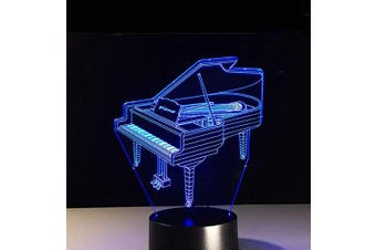 (Piano) - AZIMOM 3D Illusion Night Light, 7 Colours Changing Nightlight for Kids with Smart Touch Optical Illusion Bedside Lamps Bedroom Home Decoration for Kids Boys & Girls Women Birthday Gifts (Piano)