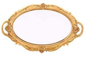 (9.8*37cm ) - XPXKJ Oval Vintage Wall Mirror Tray Mirrored Tray Dresser Organiser Tray 25cm x 36cm - Fruit Plate (Golden)