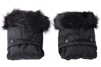 (Black) - Clair de Lune Universal Pushchair/Pram Faux Fur Mittens, Black