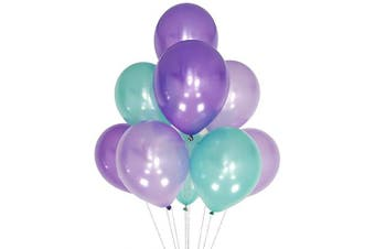 (12 Inch / 30 cm, Purple Teal) - AZOWA Teal and Purple Balloons 30cm Pack of 100 Latex Balloons