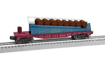 (Cars, Barrel Car) - Lionel Trains - The Polar Express Barrel Ramp Car, O Gauge