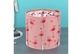 (Pink) - LUCKUP Portable Bathtub, Foldable Free Standing Soaking Bath Tub Easy to Instal, Eco-Friendly Bathtub Bathroom Spa,Thickening with Thermal Foam to Keep Temperature,Pink Flamingo