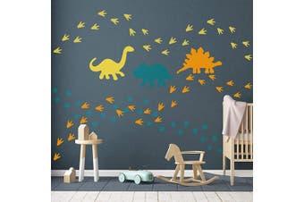 GULIGULI Dinosaur Wall Decal-Dinosaur Footprints & Tracks Stickers-Vinyl Wall Art for Boys & Girls Kids Bedroom Nursery Decor