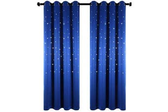 (W42 x L63, Royal Blue) - Anjee Starry Sky Blackout Curtains with Laser Cutting Stars for Children's Room, Space Themed Drapes for Nursery (Royal Blue, W42 x L63 Inches)