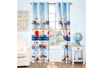 (Construction Site) - Better Home Style White Blue Red Construction Site Tractors Trucks Cement Mixers Kids/Boys/Toddler Room 2 Piece Window Curtain Treatment Drapes Set with Grommets 2018291 (Matching Curtain)
