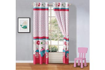 (Turquoise Cupcake) - Better Home Style Multicolor Pink Turquoise Green Floral Cupcakes Printed Girls/Teens/Kids Room Window Curtain Treatment Drapes 2 Piece Set with Grommets (Turquoise Cupcake)
