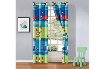 (Crane) - Better Home Style Green Blue Red Construction Site Cranes Trucks Backhoes Cones Printed Boys/Kids Room Window Curtain Treatment Drapes 2 Piece Set with Grommets (Crane)
