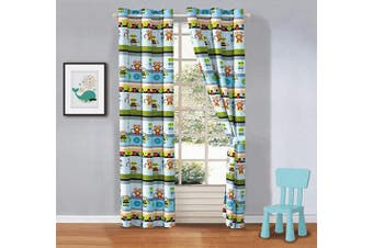(Robots) - Better Home Style Multicolor Blue Green Robots Printed Fun Designs for Kids/Boys/Teens Room Window Curtain Treatment Drapes 2 Piece Set with Grommets (Robots)