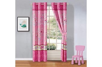 (Tree Butterfly) - Better Home Style Multicolor Pink Blue Green Butterflies Birds Trees Printed Girls/Teens/Kids Room Window Curtain Treatment Drapes 2 Piece Set with Grommets (Tree Butterfly)