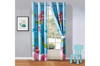 (Mermaid Treasure) - Better Home Style Blue Pink Green Under The Sea Life Mermaid with Crabs and Starfish Printed Fun Multicolors Kids Room Window Curtain Treatment Drapes 2 Piece Set with Grommets (Mermaid Treasure)