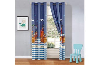 (Pirates Blue) - Better Home Style Printed Fun Multicolors Pirates Ships Sea Ocean Design Kids/Boys/Toddler Room Window Curtain Treatment Drapes 2 Piece Set with Grommets (Pirates Blue)