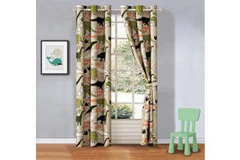 (T-rex) - Better Home Style Multicolor Green Sage Dinosaur Dinosaurs Printed Boys/Teens/Kids Room Window Curtain Treatment Drapes 2 Piece Set with Grommets (T-Rex)