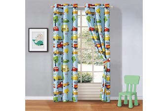 (School Bus) - Better Home Style Multicolor School Buses Fire Trucks Engine Cars Trees Stop Signs Printed Boys/Kids Room Window Curtain Treatment Drapes 2 Piece Set with Grommets (School Bus)