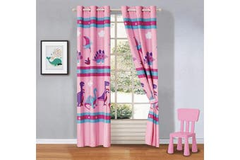(Dinosaur Land Pink) - Better Home Style Printed Fun Multicolor Pink Blue Purple Dinosaurs Printed Kids/Girls Room Window Curtain Treatment Drapes 2 Piece Set with Grommets (Dinosaur Land Pink)